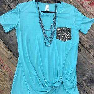 Mint Green, faux knotted shirt w/ sequin pocket